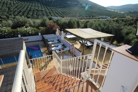 Casa Pino Solo: View from apartment terrace of pool and pool table