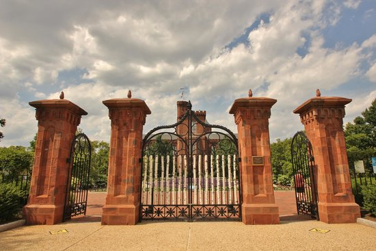 Smithsonian Institution Buidling: South view of gates from the Smithsonian garden