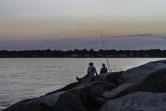Avery Point Light : Fishing at sunset