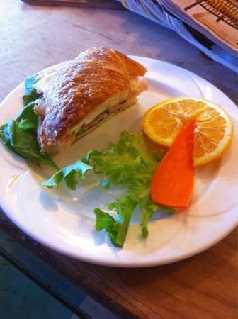 Old Town Cafe : Half portion of a croissant sandwich
