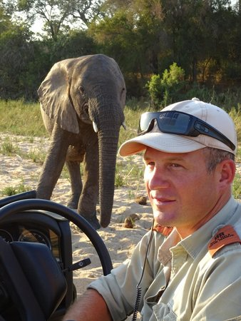 MalaMala Camp : Ranger Grant with Elephant