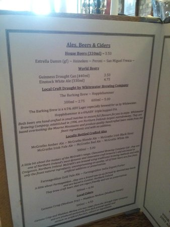 The Barking Dog Restaurant Belfast Menu