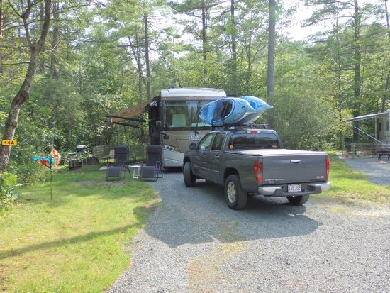 Quechee / Pine Valley KOA : Site #14A - while extremely private, a tight fit and very wet due to swamp area abutting. .