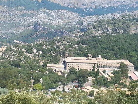 Santuari de Lluc: View of the monastery from the road further up the mountains