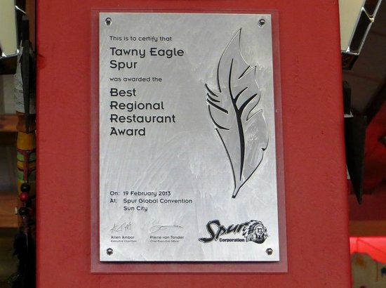 Tawny Eagle Spur Steak Ranch: Best Regional Spur Award