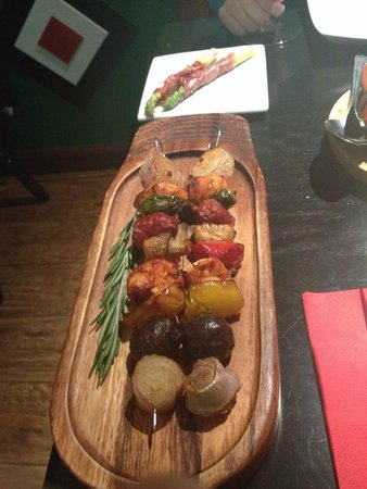 Sol y Sombra Tapas Bar : skewars of morcilla and chicken, asparagas and serrano ham
