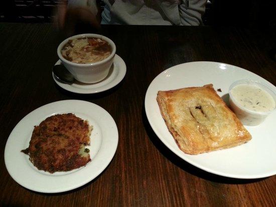 La Madeleine French Bakery: Chicken Friand, French Onion Soup, Potato Pancake