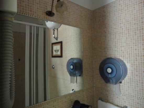 Hotel il Papavero: Espelho do banheiro com box ao fundo