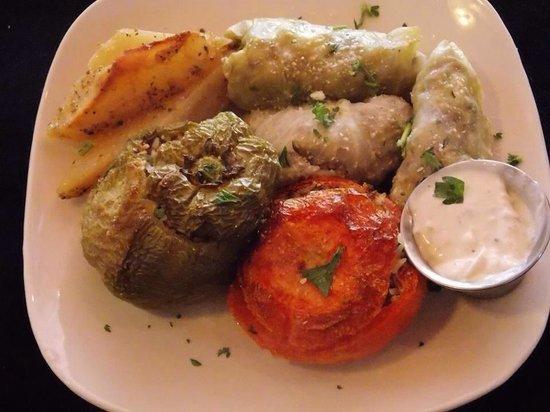 Ancient Pillars Greek Restaurant: Gemista and lahanodolmathes