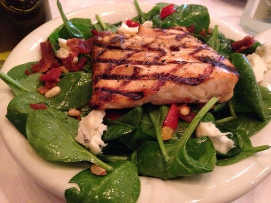 Maggiano's Little Italy: Spinach salad with salmon.