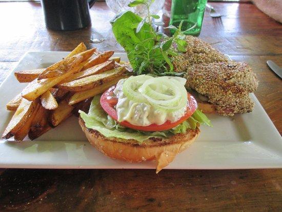 Fire Side Inn - Georges' Grill: Look at that fresh ahi sesame seed encrusted tuna sandwich! Yum!
