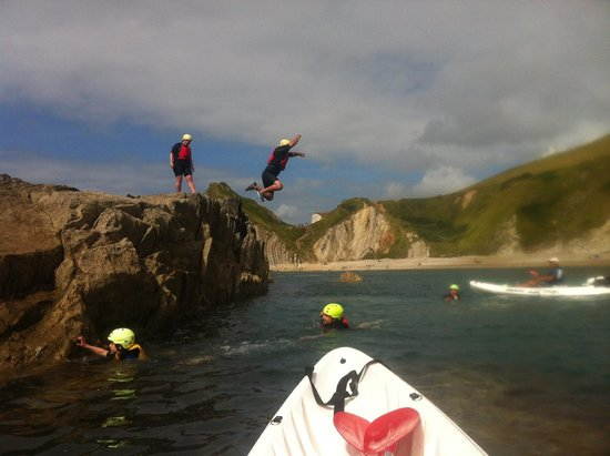 Jurassic Coast Activities: Jumping off the rocks in Man'o'War bay