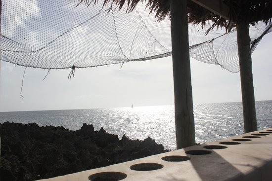 Seagrape Plantation Resort: Relaxing on under the hut which has a step latter into the ocean for snorkeling.