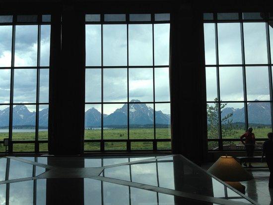 Pioneer Grill at Jackson Lake Lodge: Grand Teton Range from the lobby of Jackson Lake Lodge