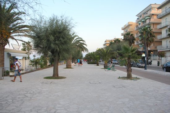 Pedestrian walking area with Hotel Bahia in background