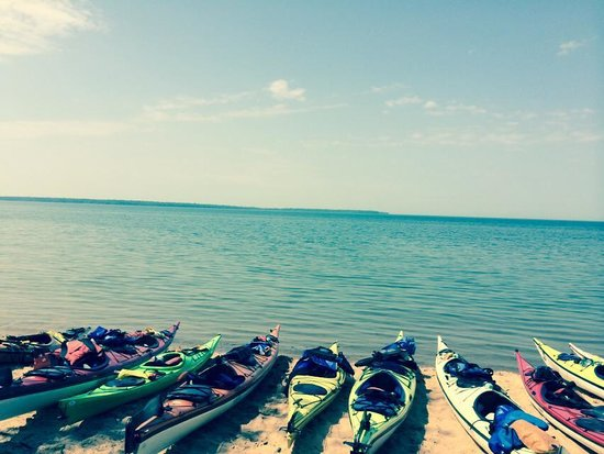 Living Adventure, Inc: Our kayaks along the shore of Lake Superior. The water was so calm!