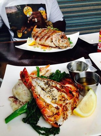 Fat Tuna Grill & Oyster House : deep fried red snapper over rice and broccolini, lobster,salmon,mango bbq shrimp,garlic potato a