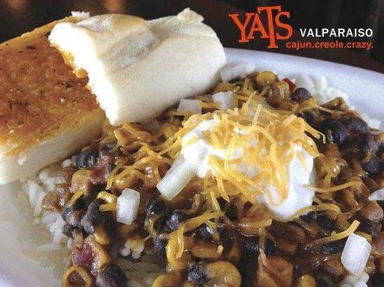 Yats Valparaiso: B&B – Black beans & caramelized corn in a light spicy & sweet cream sauce.