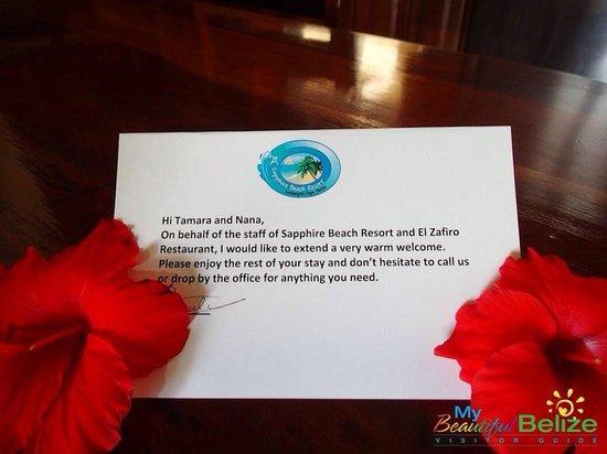 Sapphire Beach Resort: Welcome note