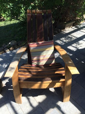 The Good Earth Food and Wine Co.: Locally made chair from wine barrels!