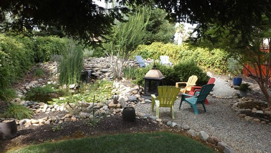 Apples' River House Bed and Breakfast: Lounging area with pond/waterfall and two fire pits