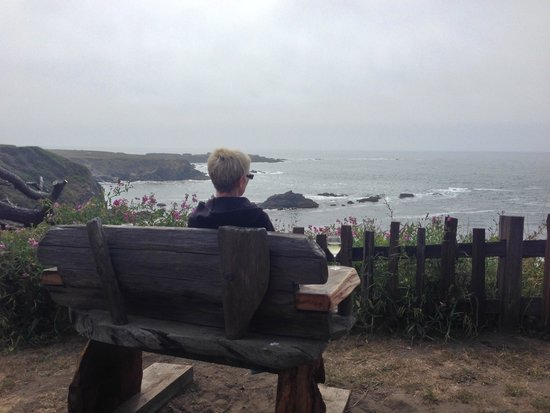 Enjoying Sea Rock Inn's benches on the bluffs