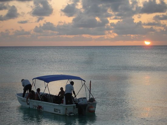 Bohio Dive Resort: great sunset and dive boat before night dive