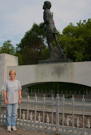 Terry Fox Monument : My wife with her Terry Fox shirt on.