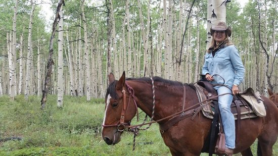 Elk Mountain Ranch: Beautiful Aspen tree ride.