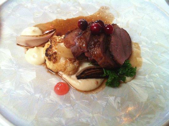 Raymonds Restaurant: Quebec duck, parsnip purée, cranberries, rhubarb gelée, roasted cauliflower