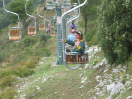Mount Solaro: Mary going down the chairlift