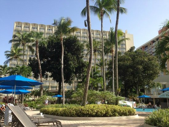 InterContinental San Juan : View from a pool deck chair of the property