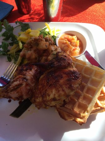 Bhima's Warung: Chicken, waffles, and veggies