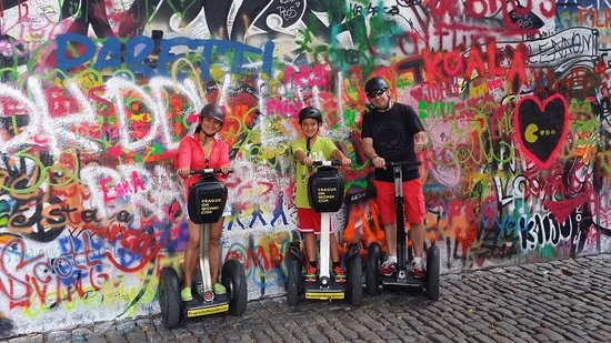 Prague On Segway, on E-Scooter, on Quad : at the John Lennon wall