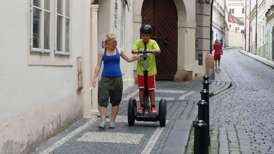 Prague On Segway, on E-Scooter, on Quad : Ellie giving my son a quick training