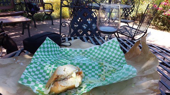 Wolff Vineyards: Glass of wine with some sandwiches