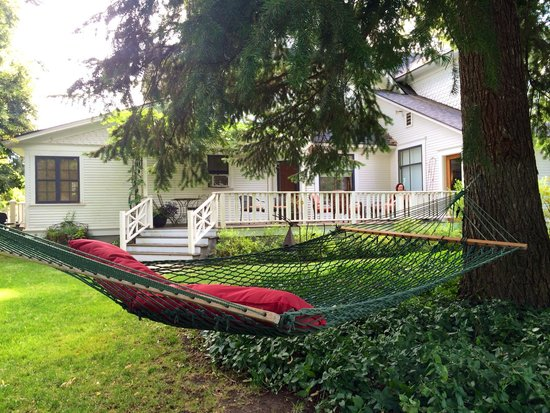 The Inn At Woodhaven Farm: Hammock and porch in background