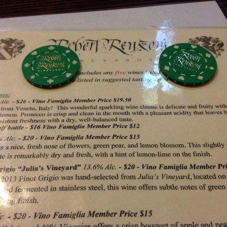 Robert Renzoni Winery: Poker Chips for tastings
