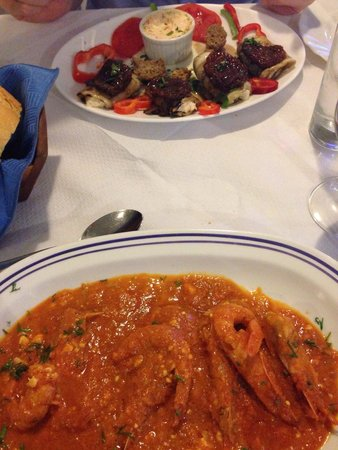 Volcano Blue: Aubergines and Shrimp Saganaki