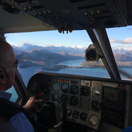Glenorchy Air: Ray at the controls enroute to Queenstown from Milford Sound