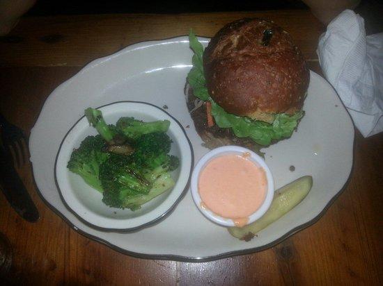 Bubby's: Veggie (vegan) burger w/ sautéed broccoli