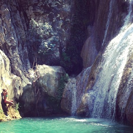 Polylimnio Waterfall: Canyoning, the wrong way up