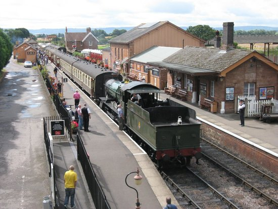 West Somerset Railway: View of Bishops Lydeard with 7828 Norton Manor ready to depart