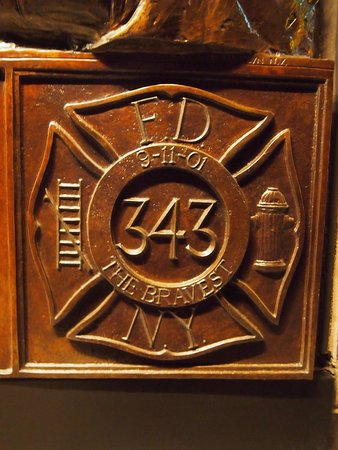 FDNY Memorial Wall : Plaque recognising the 343 firefighters that died