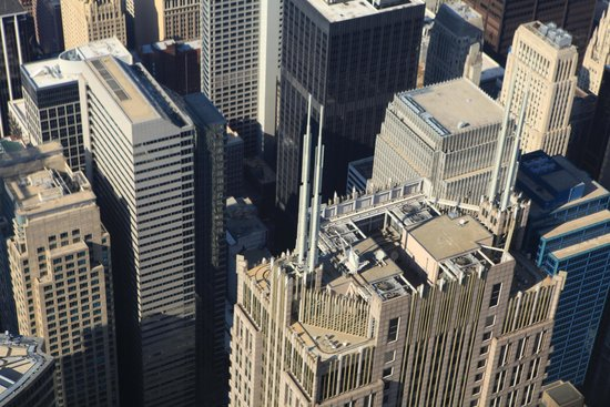 Skydeck Chicago - Willis Tower: Birdview of high buildings