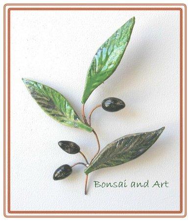 Bonsai and Art: Keramik-Olivenzweig designgeschuetzt