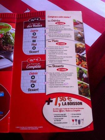 La Boucherie : Les menus