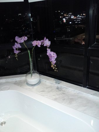 Grand Diamond Suites Hotel: Bath with a view