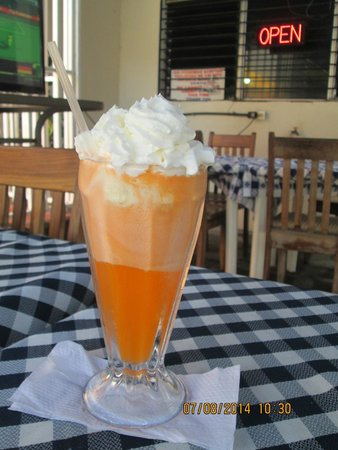 Cafeteria Terry's Diner: Ice Cream Float available in  orange, cherry, grape and Coke