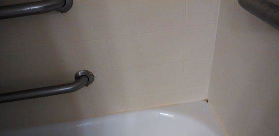 Holiday Inn Express & Suites Alexandria-Fort Belvoir: moldy grab rails and corners